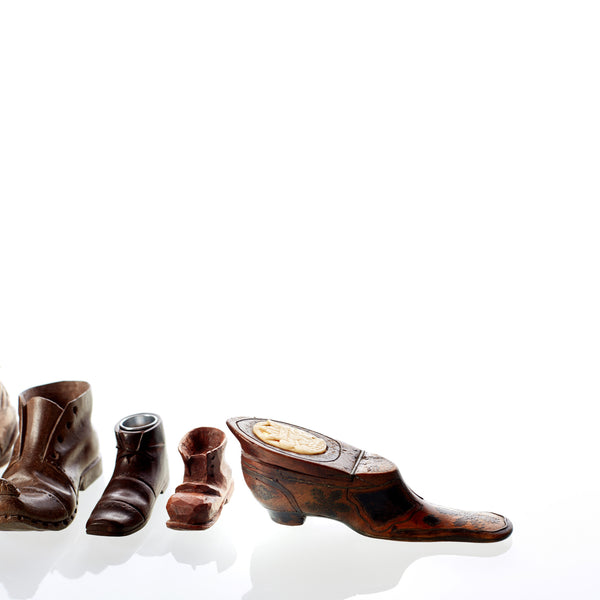 Collection of Hand Carved Wooden Boots