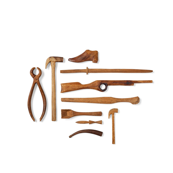 Collection of Miniature Hand-Whittled Tools