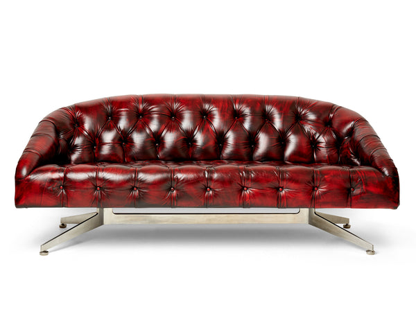 Ward Bennett Tufted Leather Sofa