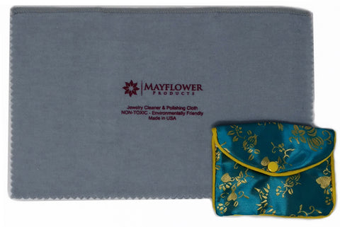 Mayflower Polishing Cloth for Silver, Gold and Platinum - Non Toxic- Made In USA- 11 x 14 In - Jewelry Pouch Included