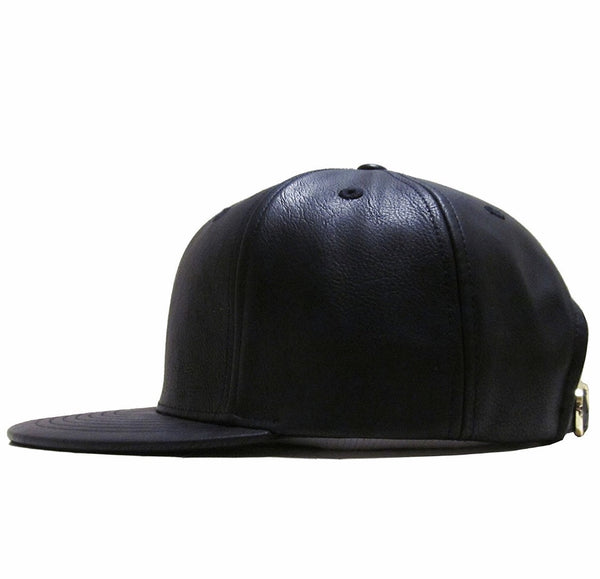 Faux Leather Strapback Hat