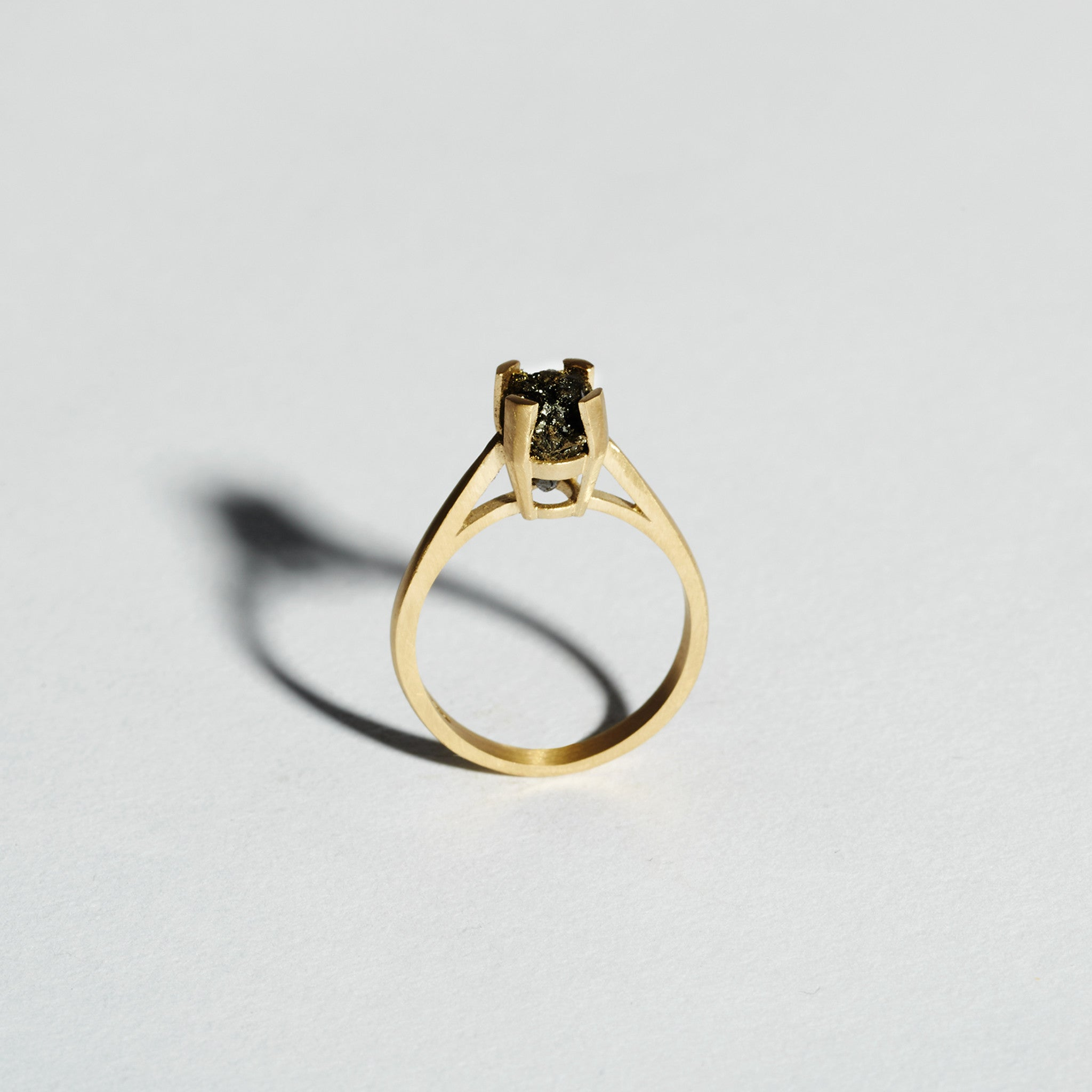 Anthracite Trapped Gold Ring