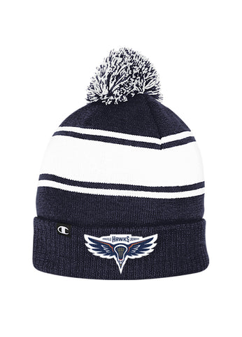HAWKS - CHAMPION STRIPED POM TOQUE