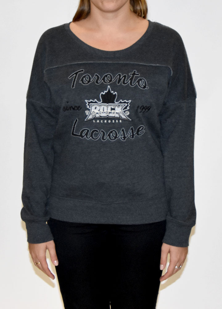 Ladies Campus Crew Black Sweater