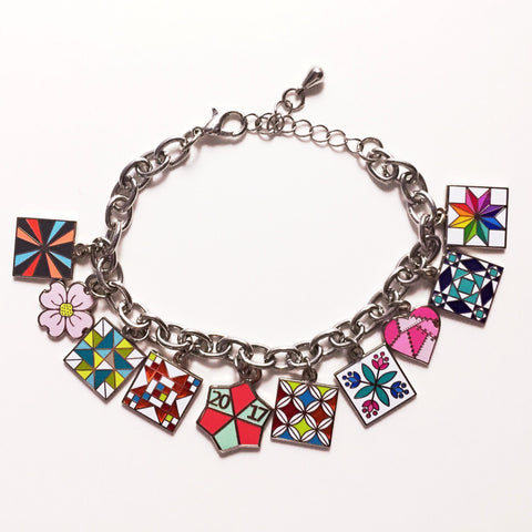Quilt bracelet with 10 quilt charms is pre-made for your convenience!
