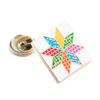 Eight-Pointed Star Pin, Bright/White