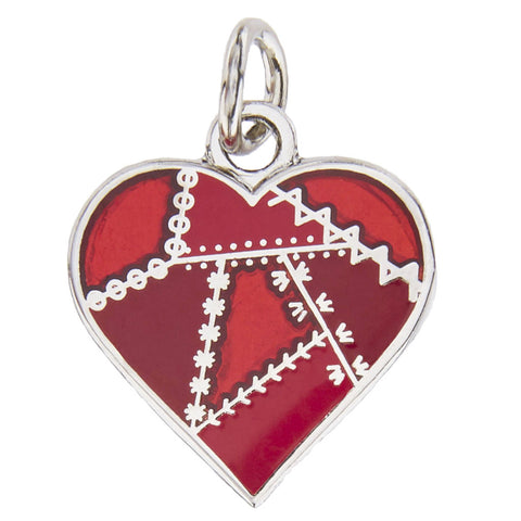 Patched Heart Charm, Red