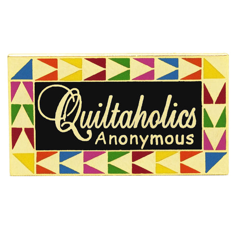 Quiltaholics Pin, Black