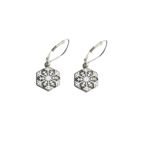 Snowflake charm earrings are a perfect quilt gift during the holiday season!
