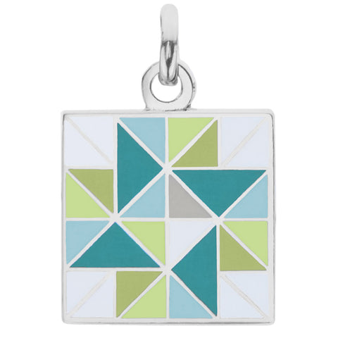 Spinning Star Charm, Green & Blue