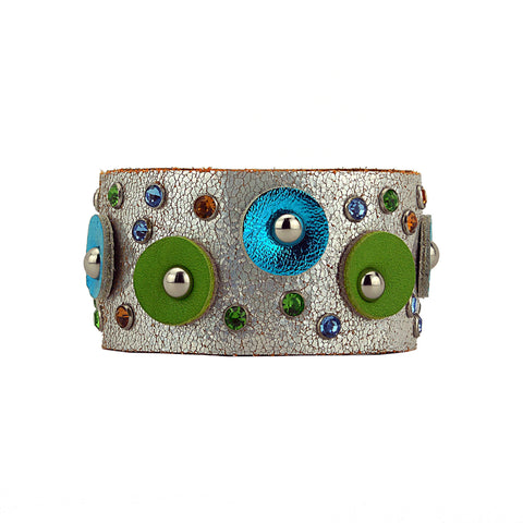 Borga Metallic Silver Leather Cuff