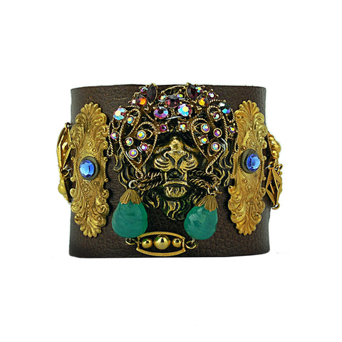 Masked Lion Leather Cuff