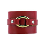Isla Italian Red Crackle Leather Cuff with Gold Accent