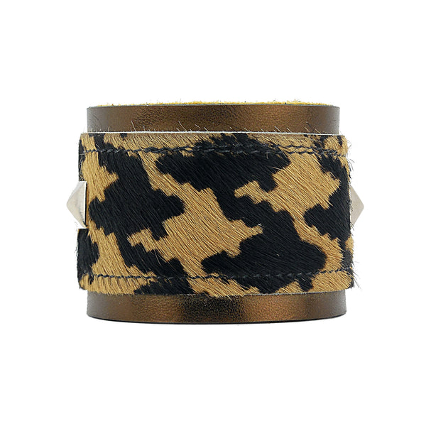 Escoffery Houndstooth Print Leather Cuff