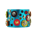 Brigetta Artisan Metallic Blue Leather Bracelet