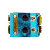 Brigetta Artisan Metallic Blue Leather Bracelet Alternative View