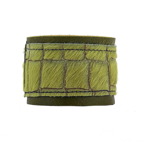 Farnsworth Reptile Embossed Green Leather Armband