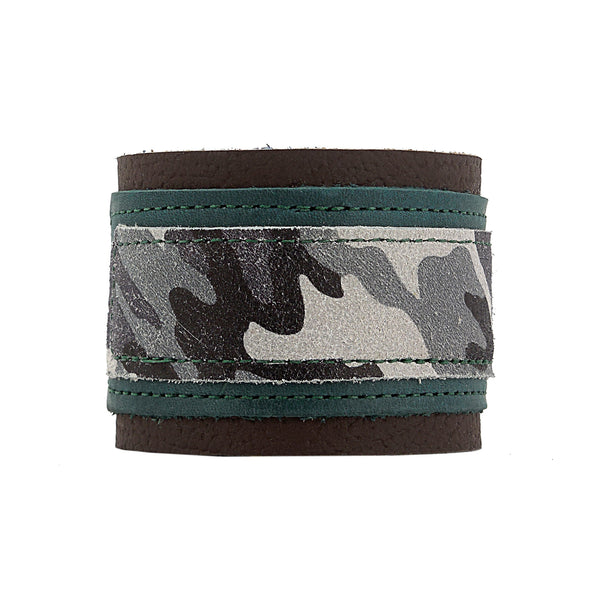 Gunner Green and Gray/Grey Leather Cuff