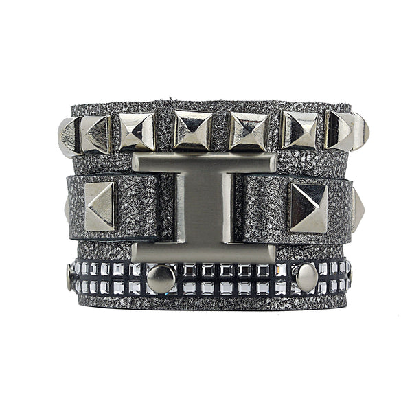 Joxasa Grey/Gray Leather Cuff with Swarovski Crystals and Studs