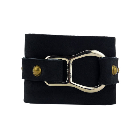 Black and gold leather cuff bracelet