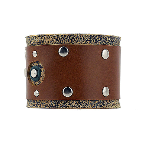 Distressed Brown Leather Bracelet