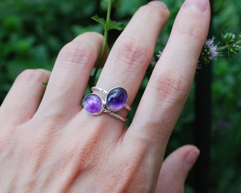 Horizontal Amethyst Stackable Ring
