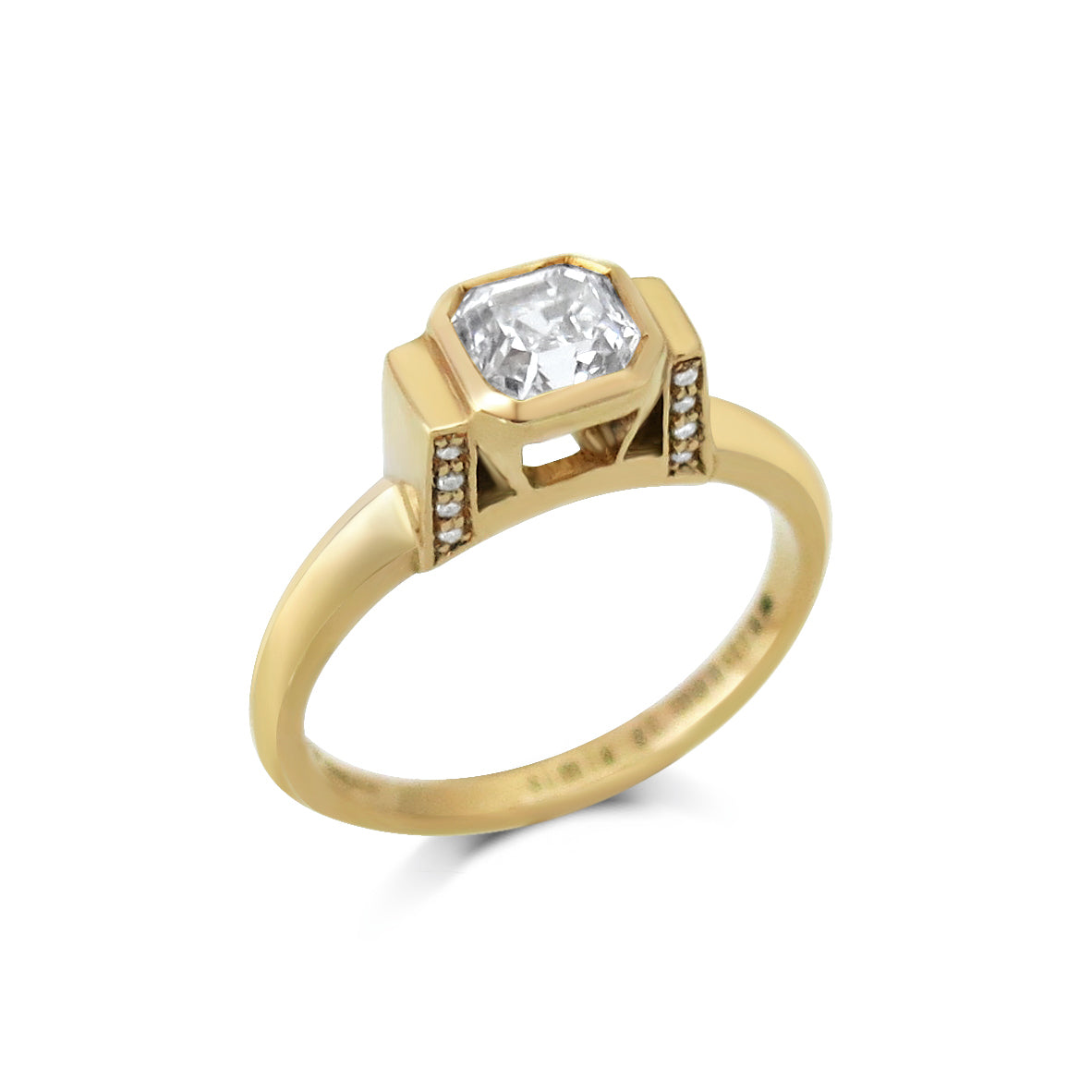 Asscher Cut Diamond 18ct Yellow Gold Engagement Ring
