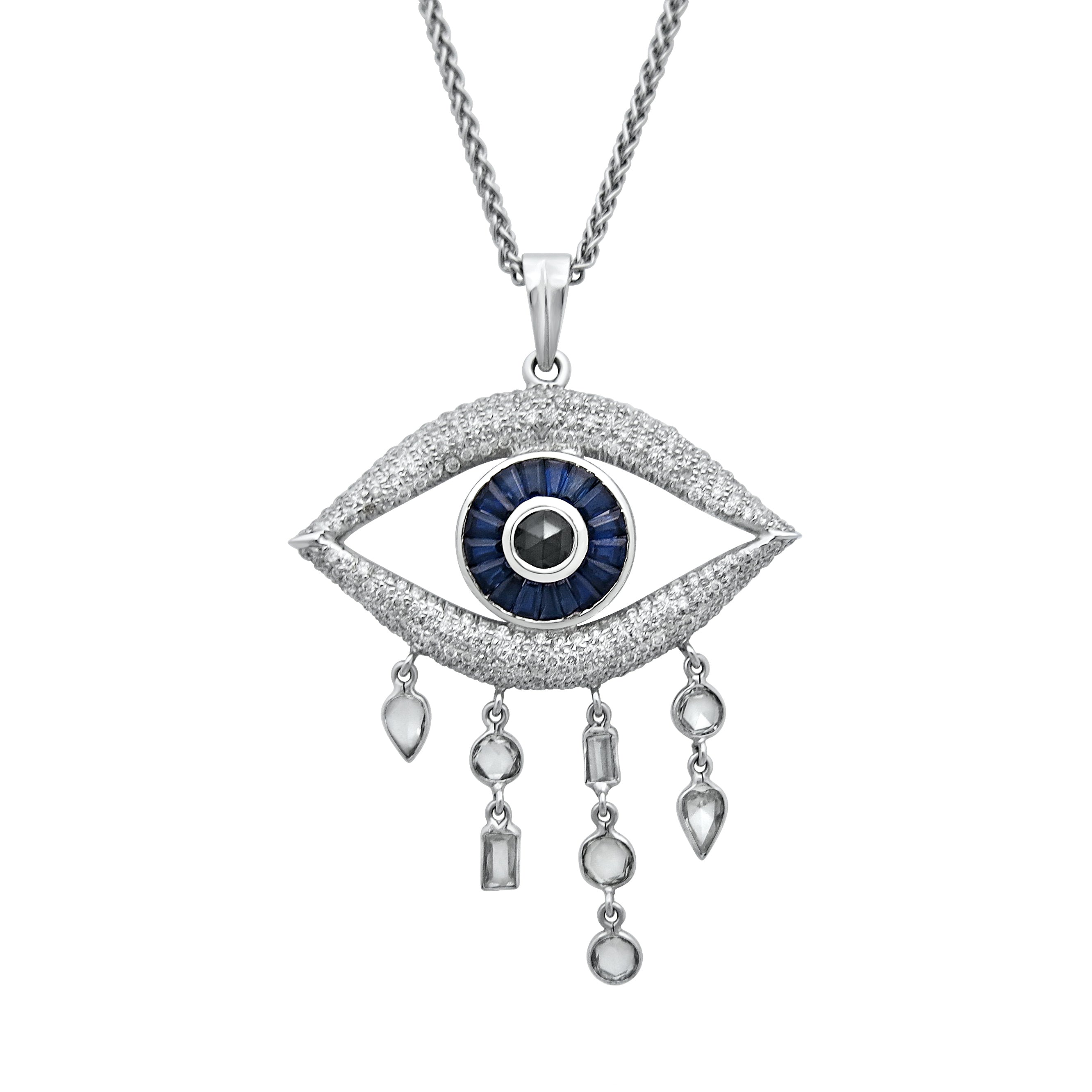 Evil Eye Necklace; Black Rose Cut Diamond, Blue Sapphires and White Diamonds in 18ct White Gold