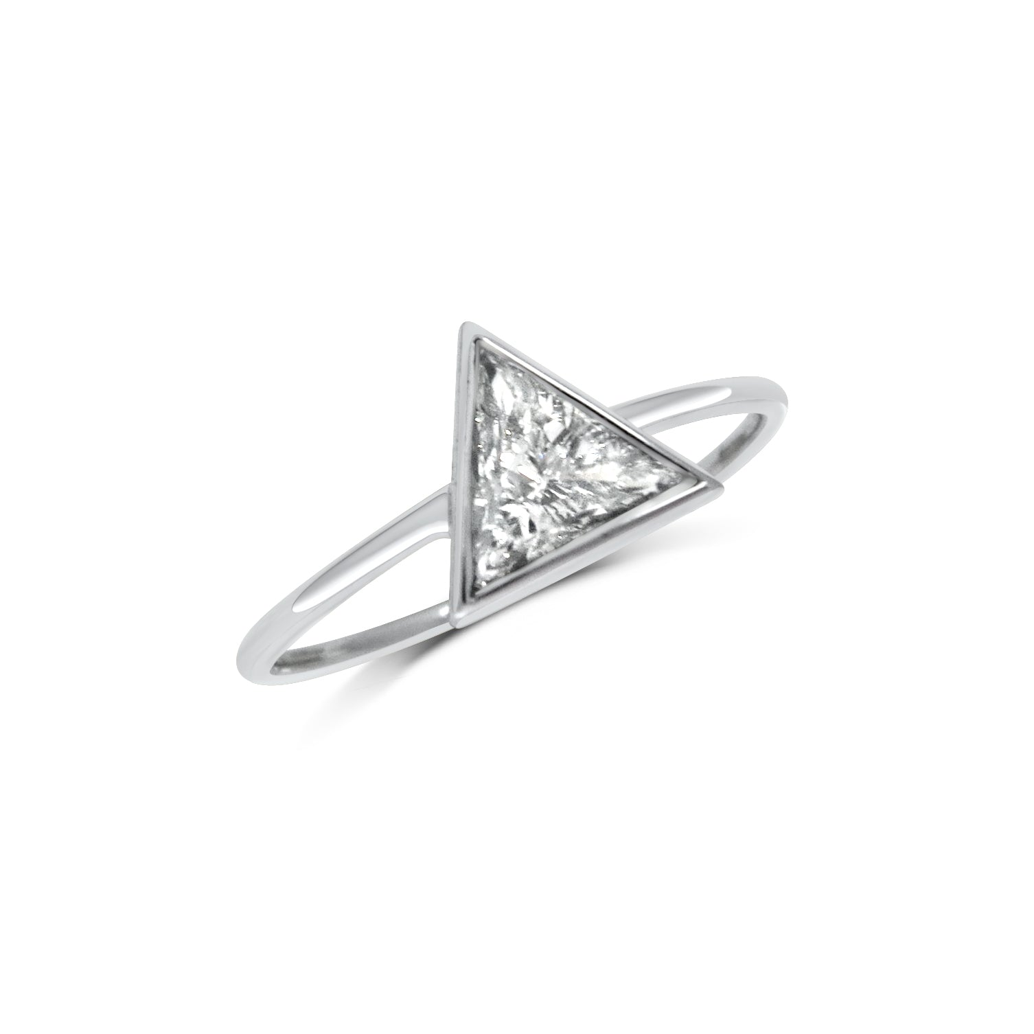 Triangle Diamond 18ct White Gold Engagement Ring
