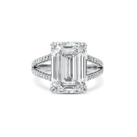 3ct Emerald Cut Diamond 18ct White Gold Engagement Ring
