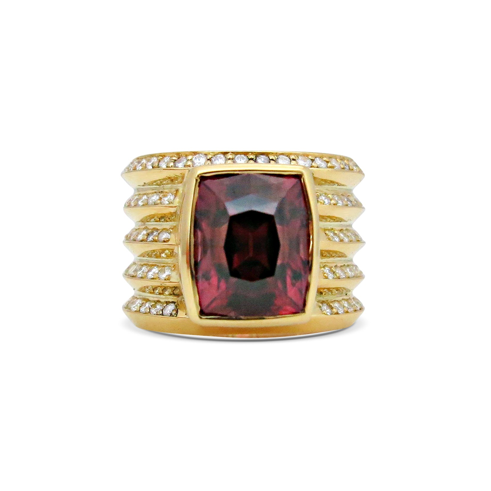 Tanzanian Zircon with White Diamonds 18ct Yellow Gold