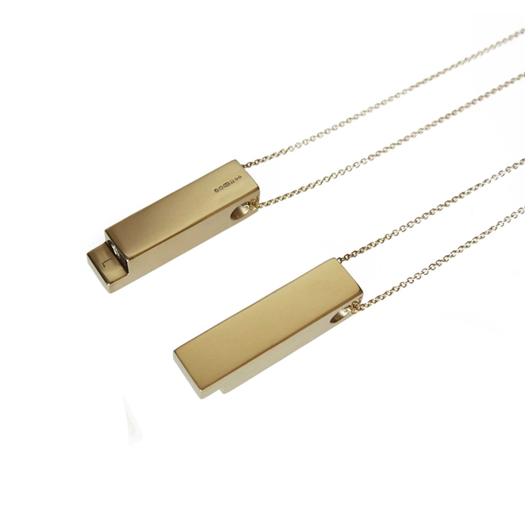 18ct Yellow Gold and Diamond Matching Engagement Necklaces