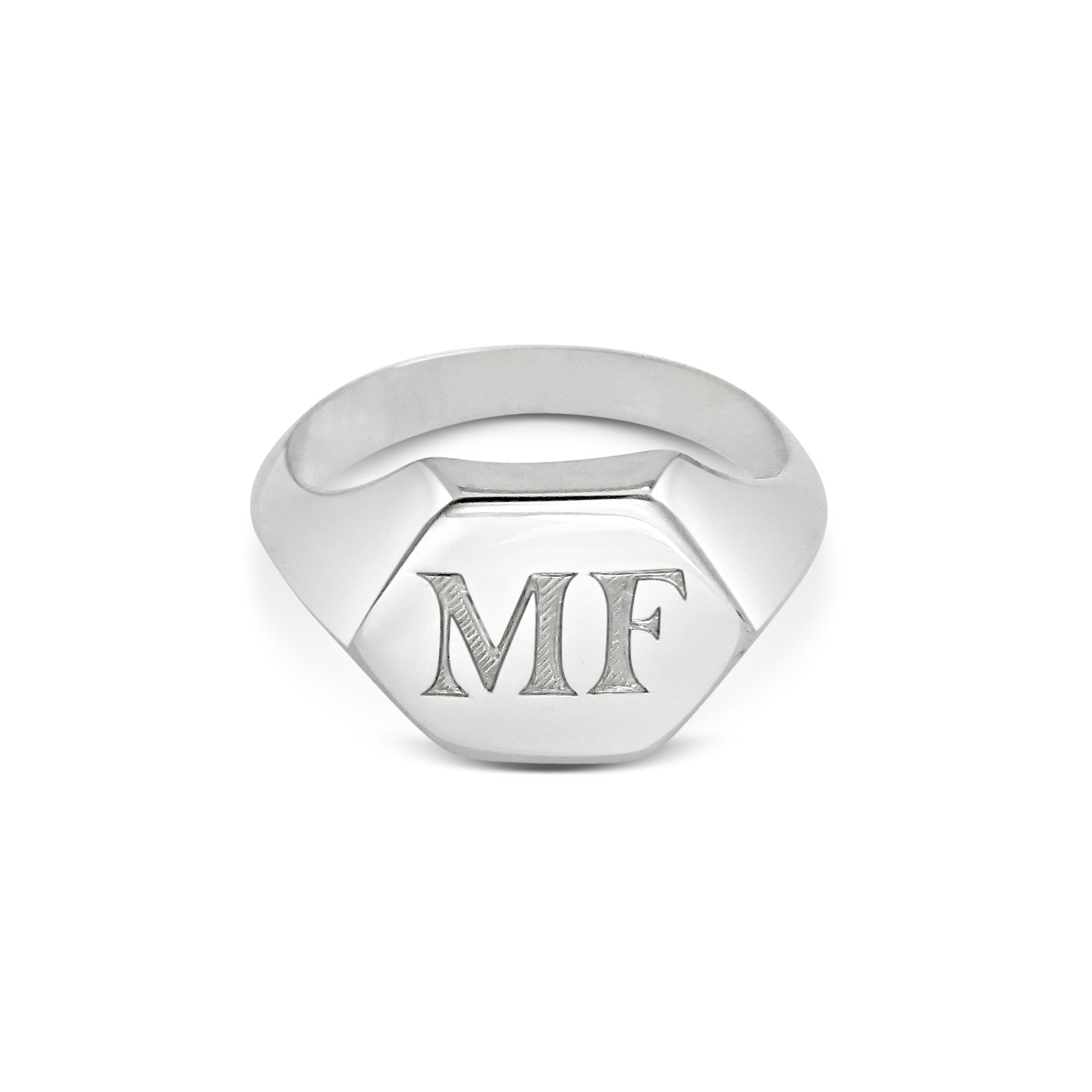 Hand Engraved Hexagonal Male Signet Ring 18ct White Gold