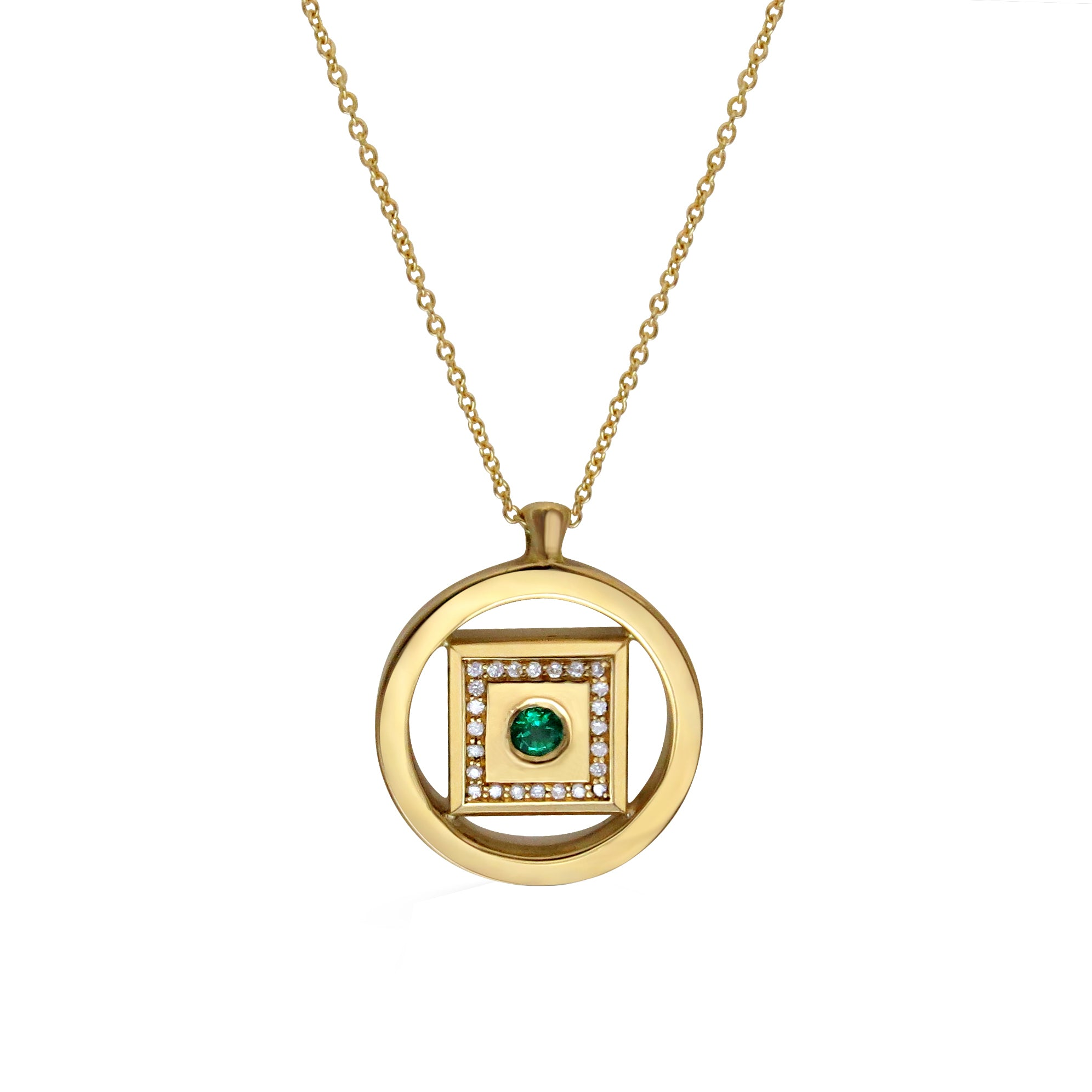 Emerald and Diamond 18ct Yellow Gold Medallion Necklace