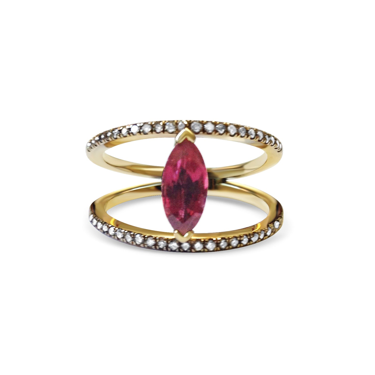 Marquise Ruby and Champagne Diamond 18ct Yellow Gold Ring