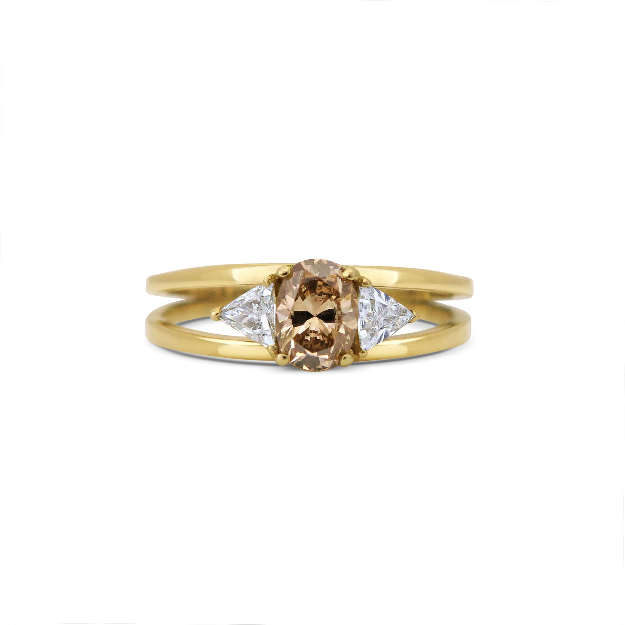 val Cognac Diamond and Triangle Diamonds 18ct Yellow Gold Engagement Ring
