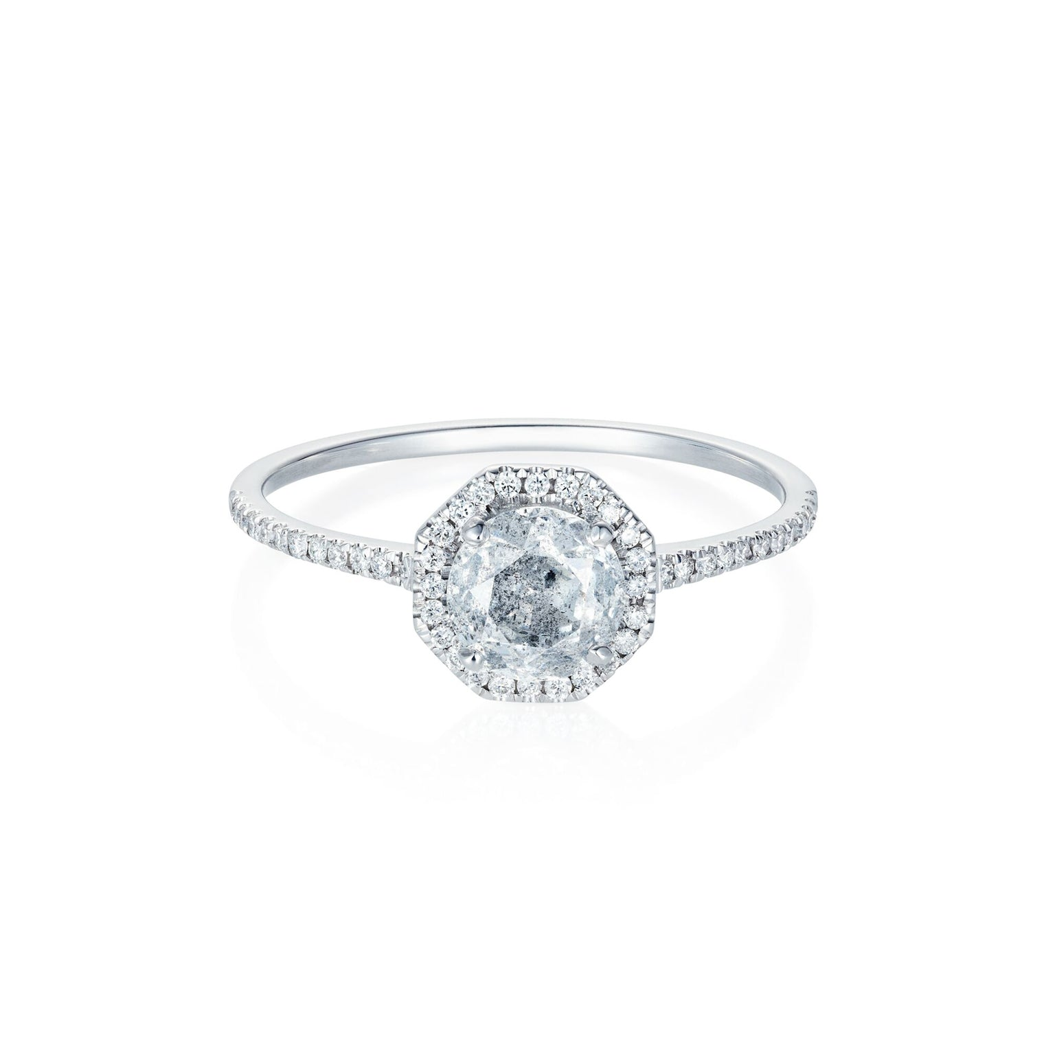 18ct White Gold, Grey Diamond and Diamond Octagon Halo