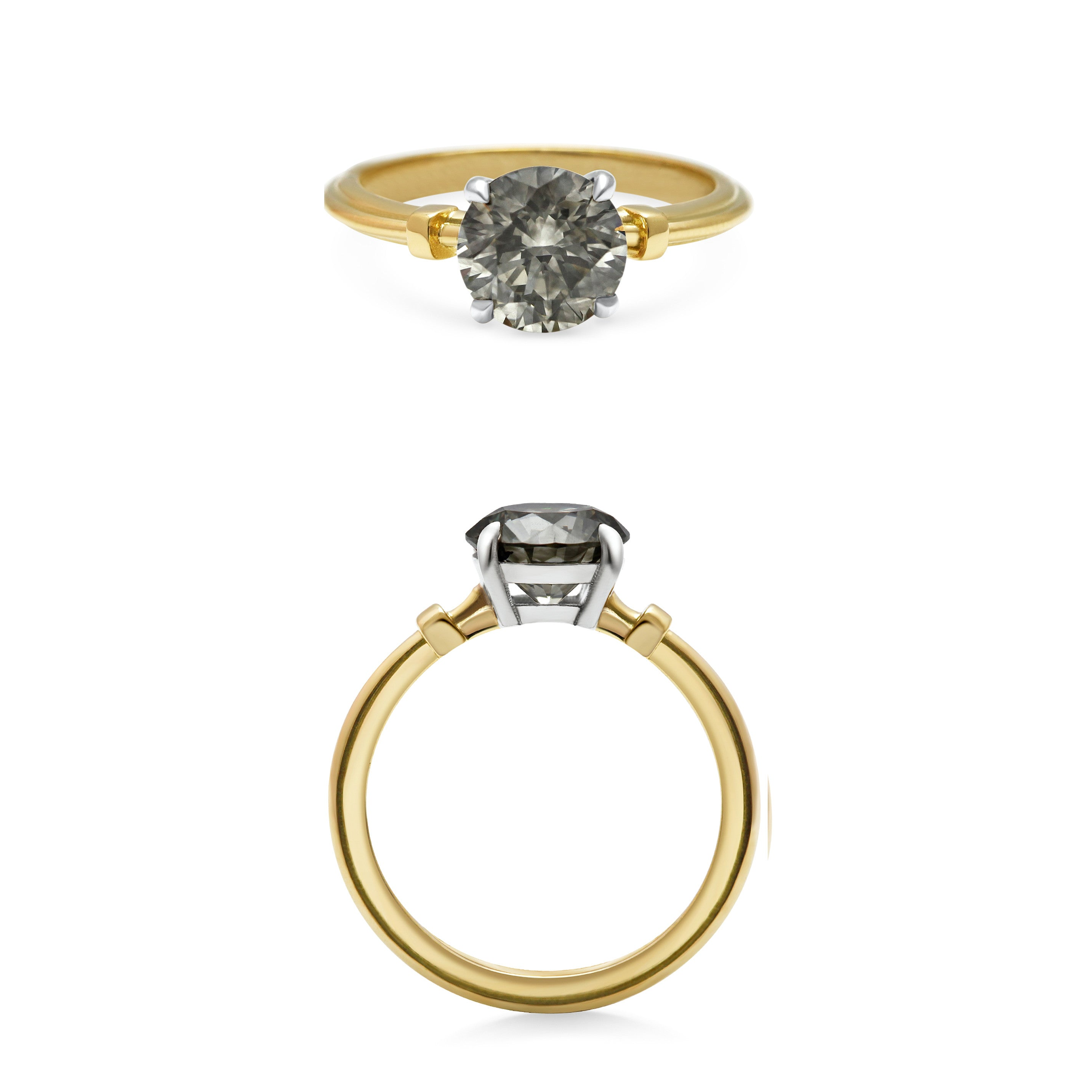 1.55ct Fancy Grey Diamond, Platinum setting and 18ct Yellow Gold Band