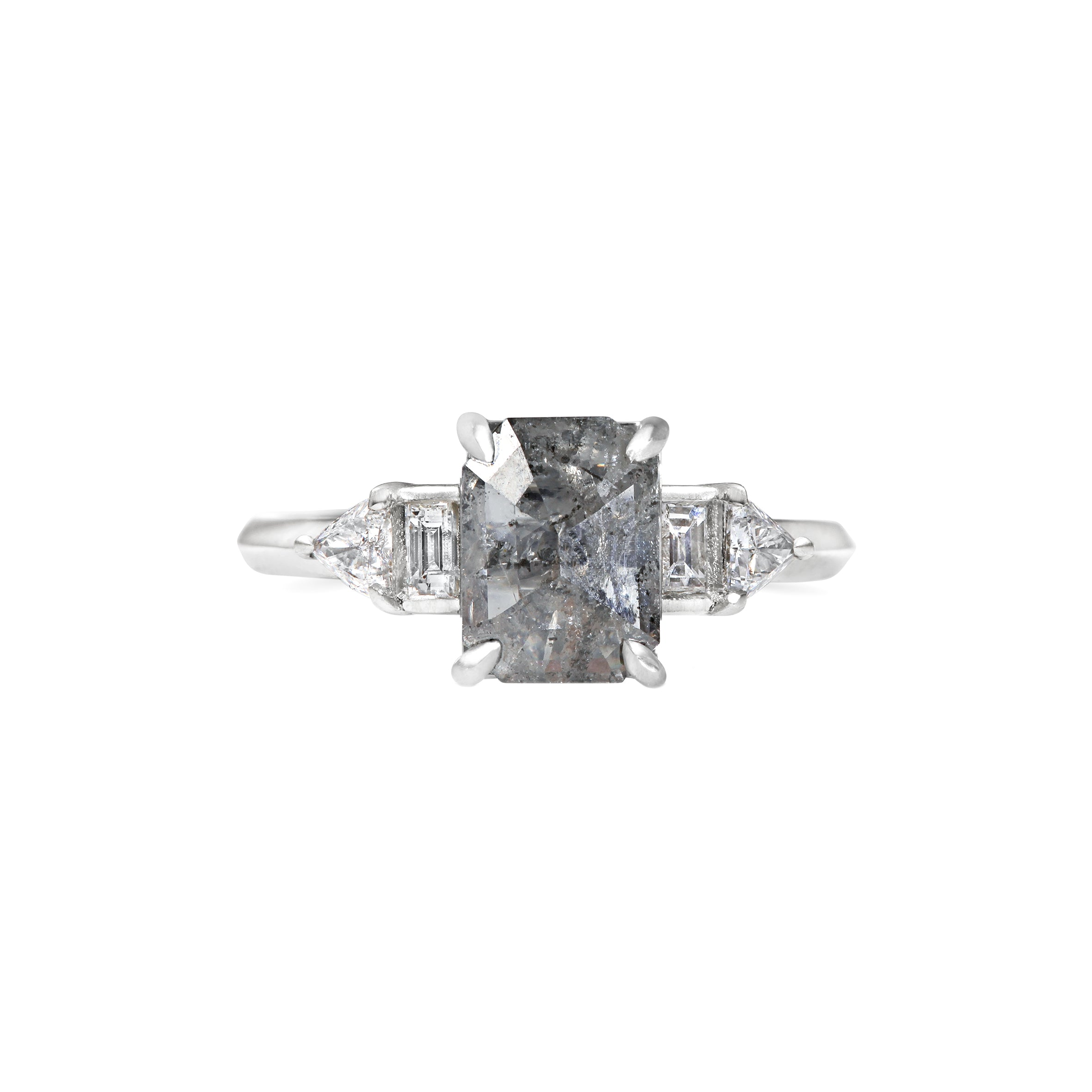 Grey Emerald cut Art Deco Engagement Ring