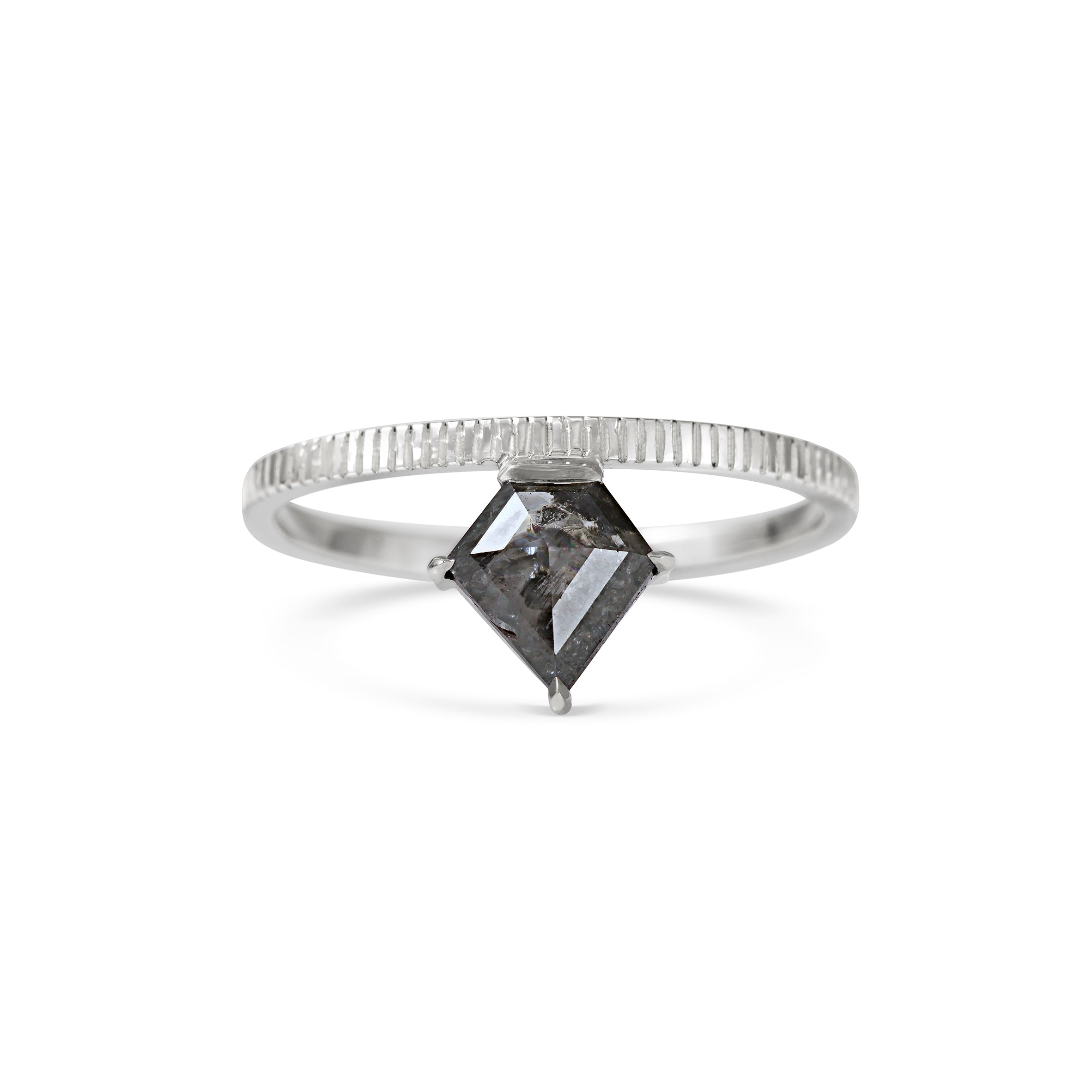 Grey Shield Cut Diamond with Hand Engraved band