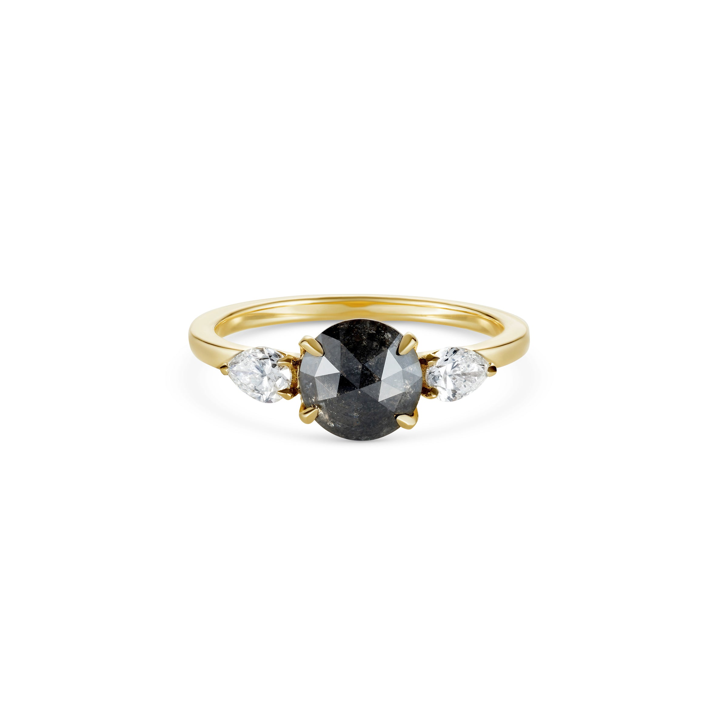 Black Diamond Rose Cut Engagement Ring