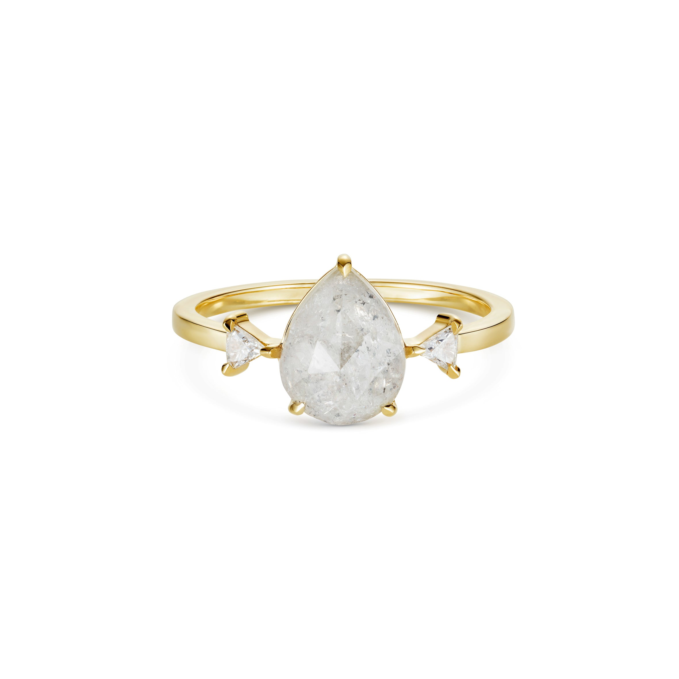 Icy Pear Cut Diamond and trillion side Diamonds 18ct Yellow Gold