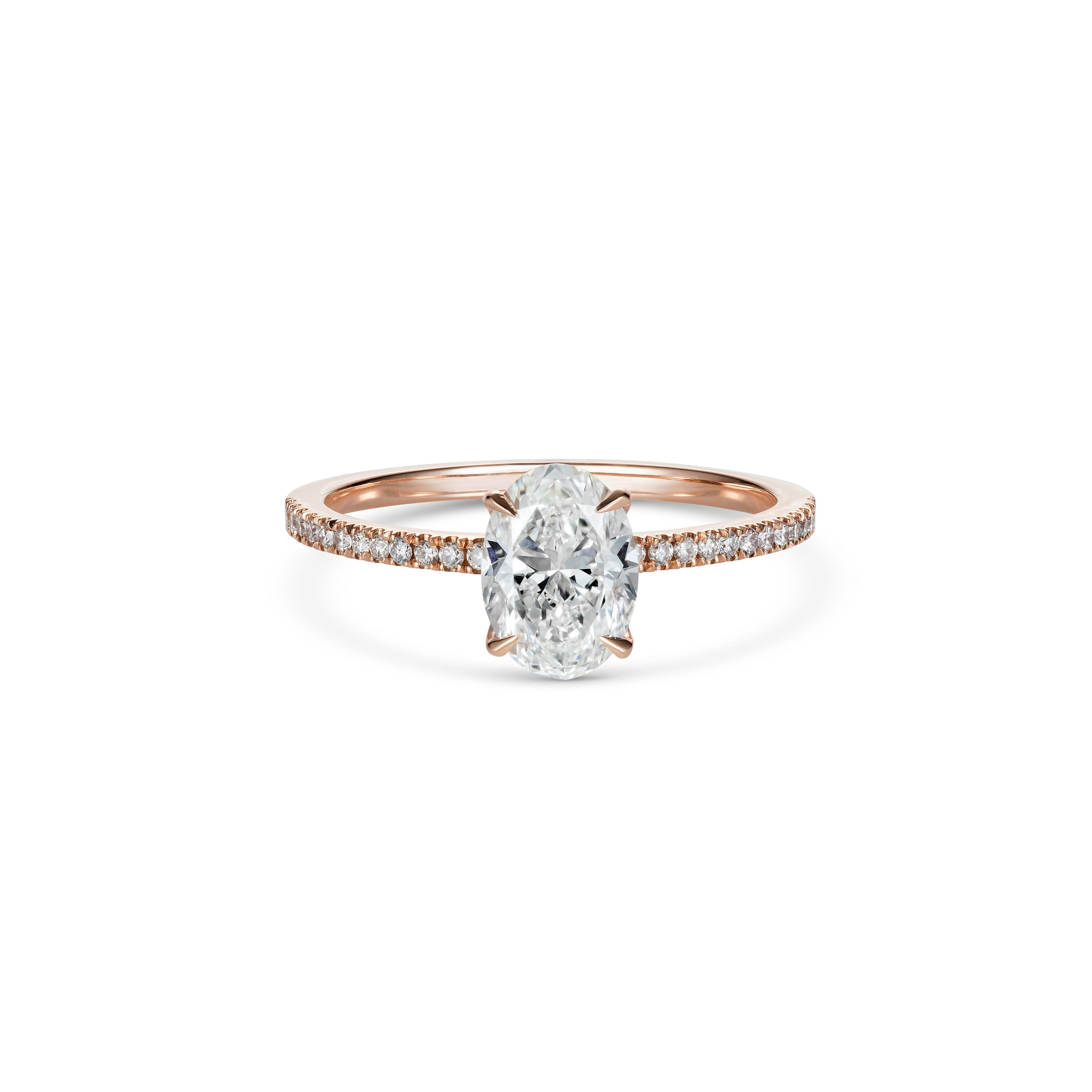 Oval Diamond in 18ct Rose Gold with Micro Pave Diamond Band