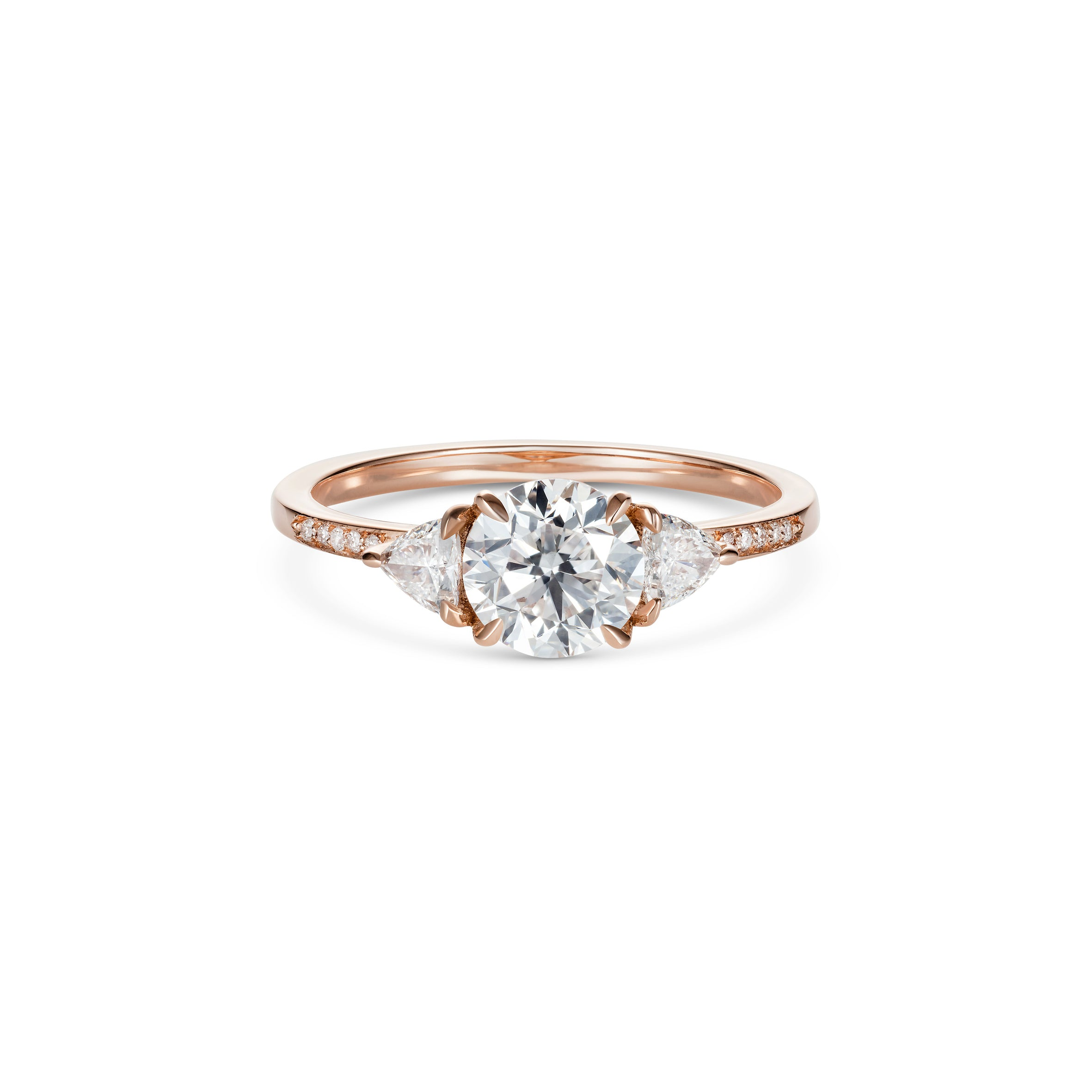 Round Brilliant Cut Diamond with Triangle Side Stones Rose Gold
