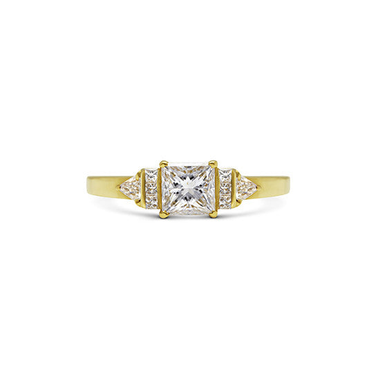 Flawless Princess Cut Diamond ring, channel set princess side stones and Trillion Diamonds, 18ct Yellow Gold