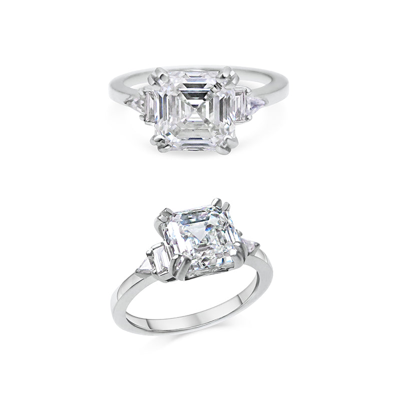 2ct Asscher Cut Diamond, Baguette and Trillion Side Stones 18ct White Gold Engagement Ring