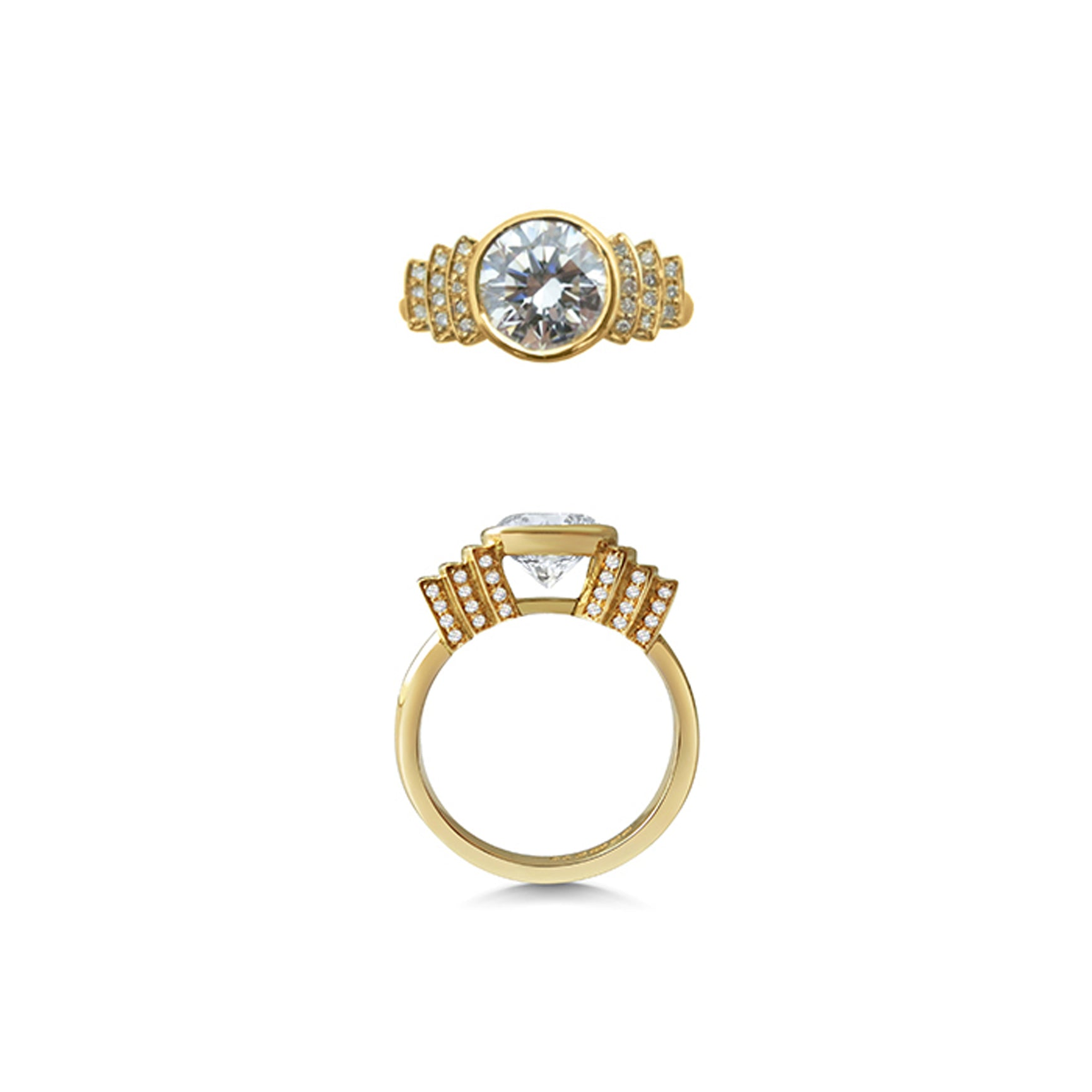 1.5ct Round Diamond 18ct Yellow Gold Engagement Ring