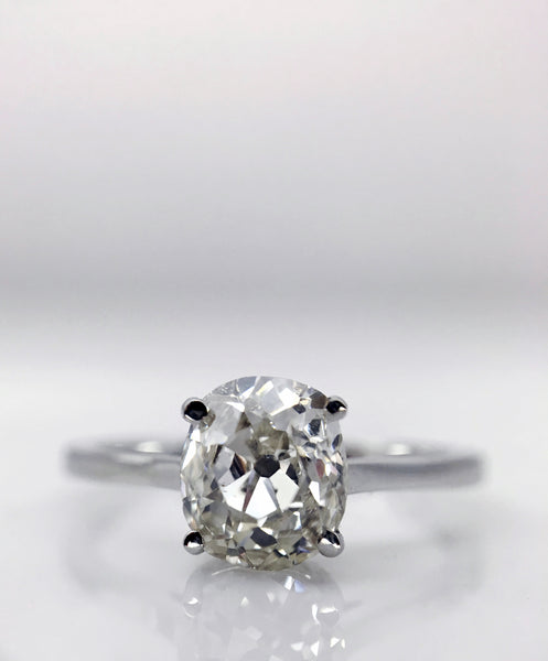 old mine cut diamond engagement ring