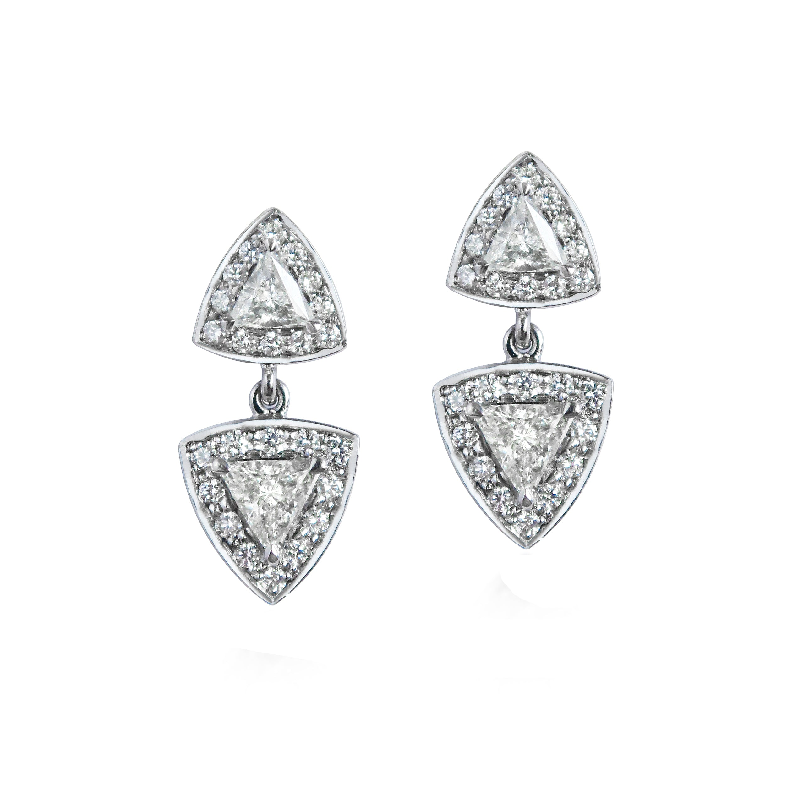 Trillion Diamond 18ct White Gold Earrings