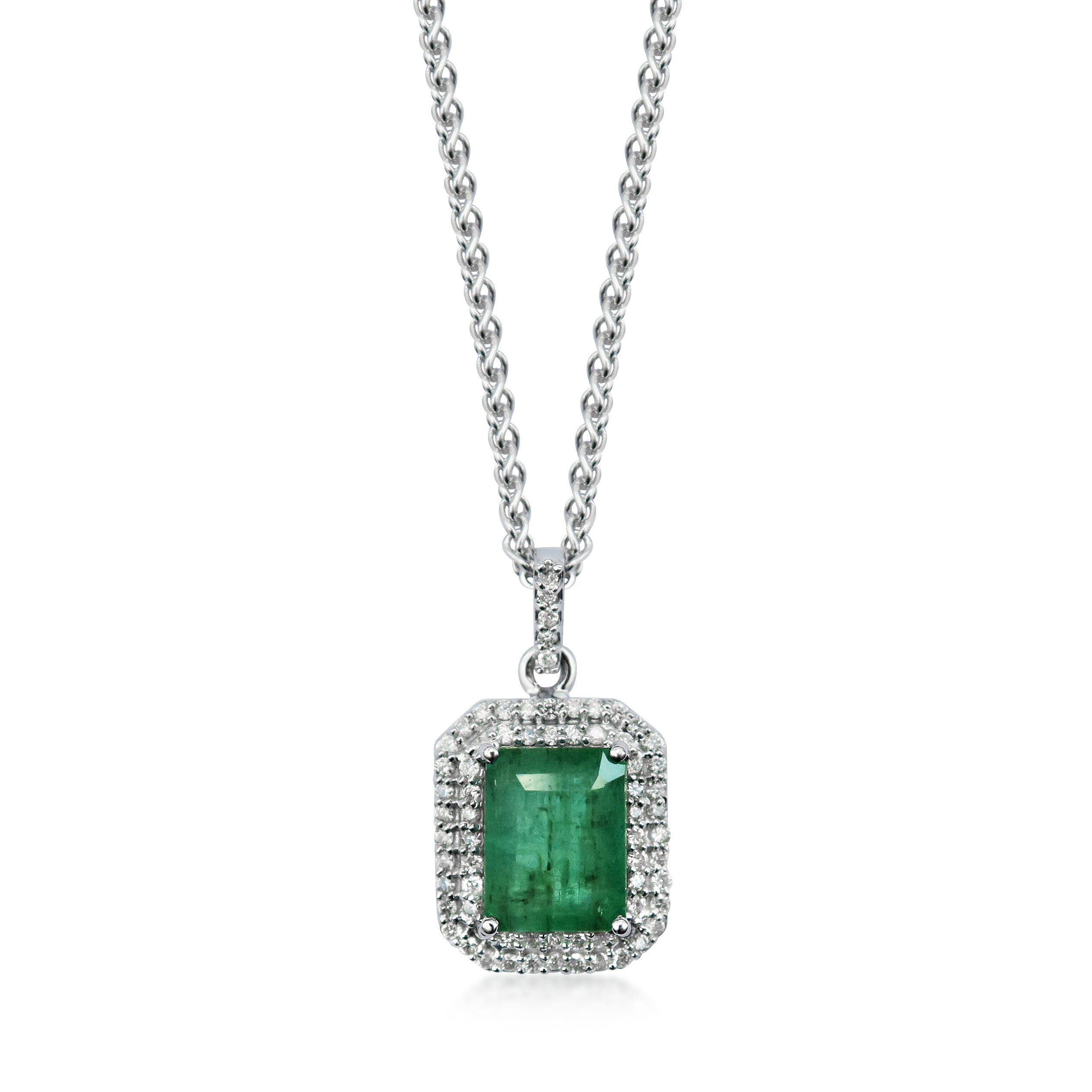 Emerald and Diamond 18ct White Gold Necklace